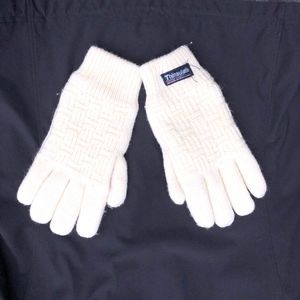 Women's Size Small Thinsulate Lined Mittens Cream